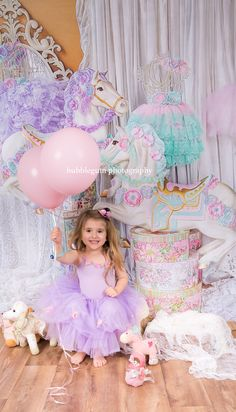 Pastel Carousel theme cake smash/ birthdays/ childrens photography