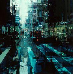"""Jeremy Mann. NYC 31. oil on panel. 24 x 24"""". 2016"""