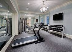 Workout Room Home, Gym Room At Home, Workout Rooms, Exercise Rooms, Home Gym Flooring, Flooring Ideas, Personal Gym, Latest House Designs, Basement Gym