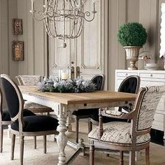 French Script Dining Chairs, French, dining room. I kinda like this the black pops with the neutrals.