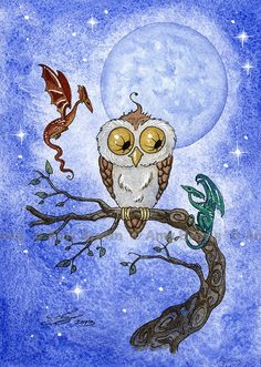 ORIGINAL OWL and 2 tiny dragons PAINTING by Amy Brown.via Etsy.