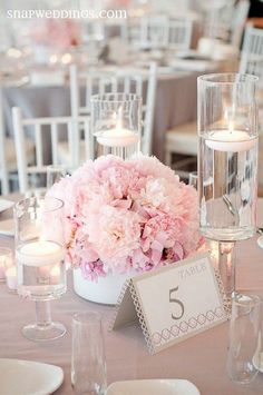 Pretty and stylish tabletop design wedding centerpiece