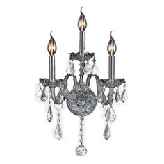 Worldwide Lighting Provence Collection 3 Light Crystal and Chrome Wall Sconce-W23103C13-CR at The Home Depot