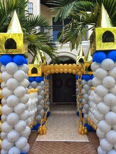 Princess & prince themed balloon arch, balloon column, balloon decoration, balloon wall, princess ca First Birthday Party Decorations, Balloon Decorations Party, First Birthday Parties, First Birthdays, Prince Birthday Theme, King Birthday, Princess Birthday, Princess Party, Balloon Columns
