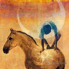 "The Shaman's drum is often known as the ""horse"" which he/she rides to the Other Worlds. (Art by Elena Ray) ..*"