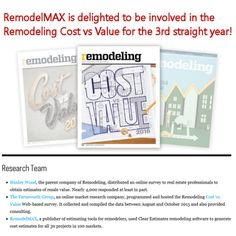 RemodelMAX & Clear Estimates selected to provide the estimates for Rem