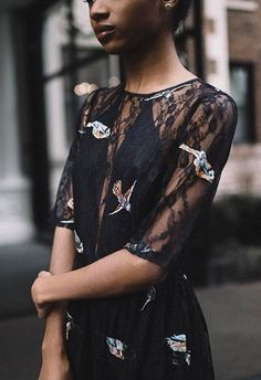 #AsSeenOnMe Instagram blogger wearing black dress with lace sheer inserts and bird motif | ASOS Fashion and Beauty Feed