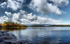 Preview wallpaper water, smooth surface, lake, trees, autumn, sky, clouds