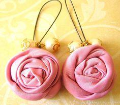 225140dec i love pink- Flower Earrings Fabric Jewelry Pink Earrings Pink Jewelry  Bridesmaid Earrings