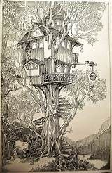 I was thinking of the treehouses in which the elves of Lothlorien live when I was drawing this, but it's not quite up to the standards of elvish eleganc. Elvish, Beautiful Drawings, The Elf, Yahoo Images, Treehouse, Image Search, Concept Art, Art Drawings, Deviantart