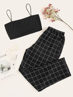 Shop Cami Top & Plaid Pants PJ Set at ROMWE, discover more fashion styles online. Girls Fashion Clothes, Teen Fashion Outfits, Edgy Outfits, Mode Outfits, Retro Outfits, Girl Outfits, Tween Fashion, Girl Fashion, Fashion Sets
