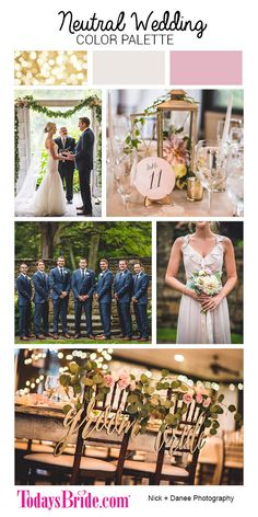 Neutral wedding color palette, blush ivory and navy wedding colors, gold and blush wedding colors, real ohio wedding as seen on Todaysbride.com | Photography by Nick + Danee