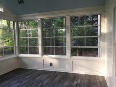 4 Season Sunroom, Three Season Porch, 3 Season Room, Porch Windows, Porch Window Ideas, Porch Ideas, Porch Knee Wall, Sunroom Decorating, Sunroom Ideas