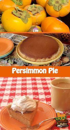 Persimmon Pie recipe with fresh Fuyu persimmons. Persimmon Pie Recipe, Persimmon Pudding, Persimmon Bread, Winter Desserts, Just Desserts, Delicious Desserts, Pie Recipes, Fall Recipes, Cooking Recipes