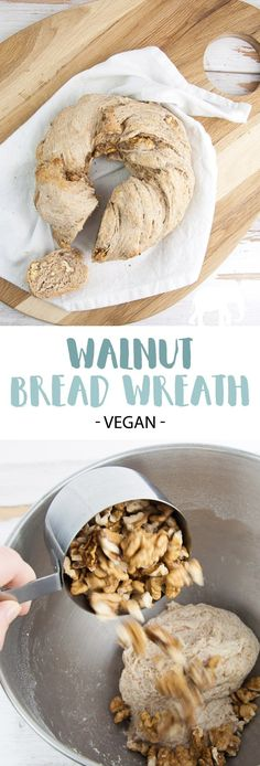 Walnut Bread Wreath Homemade bread is the best No matter if you have already experience in bread baking this Walnut Bread Wreath will turn out amazing Its so flavorful y. Easy Bread Recipes, Raw Food Recipes, Dessert Recipes, Vegan Bread, Vegan Butter, Vegan Breakfast Recipes, Delicious Vegan Recipes, Monkey Bread, Vegan Appetizers