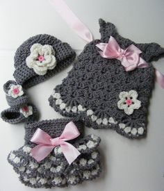 Pink snd gray...so pretty! Pattern is now available for the diaper cover, and shoes at link below. Link to dress pattern is found in the listing! https://www.etsy.com/listing/198127975/crochet-vintage-inspired-baby-set