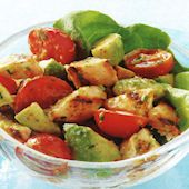 Honey-Lime Chicken Salad with Tomato and Avocado....One of my all time favorites.  I think I'm making it again this weekend!!!!  Yeah!