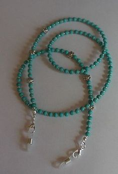 Stunning Turquoise Blue Glasses Chain Eyeglass – My All Pin Page Wire Jewelry, Beaded Jewelry, Jewelery, Beaded Bracelets, Glass Necklace, Diy Necklace, Diy Collier, Beaded Anklets, Jewelry Patterns