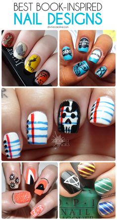 There's nothing better than a cup of tea and a great book, except maybe a cup of tea and a great book mani. Check out our favorite book-inspired nail art designs here! #booknails #nailart #naildesigns