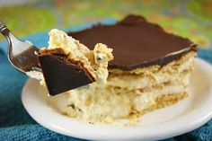 No bake chocolate Eclair dessert. Looks as simple as I remember Mom's