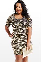 Gold Animal Print Midi Dress (Plus Size)
