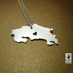 BIG Shiny I Heart COSTA RICA , Sterling silver Necklace , sterling silver chain, custom heart. $38.00, via Etsy.