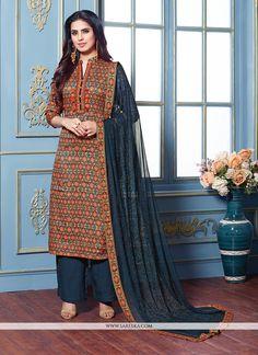 a777c4f28c Multi Colour Printed Cotton Satin Designer Palazzo Salwar Kameez