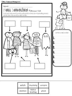 Fall labeling Freebie Help the kids to learn fall vocabularies with labeling activities. Three fall scenes are included. *Scarecrow and falling leafs *Apple orchard *Halloween kids