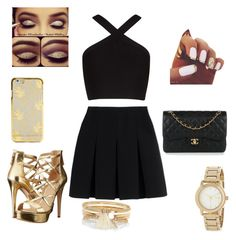 """""""Gold!"""" by joneslil on Polyvore featuring BCBGMAXAZRIA, Alexander Wang, GUESS, DKNY, Chanel and River Island"""