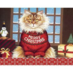 """Lang - """"Squeaky'S Christmas"""", Boxed Christmas Cards, Artwork By Lowell Herrero"""" for sale online Boxed Christmas Cards, Christmas Scenes, Christmas Cats, Christmas Greetings, Vintage Christmas, Christmas Holidays, Merry Christmas, Vintage Santas, Christmas Colors"""