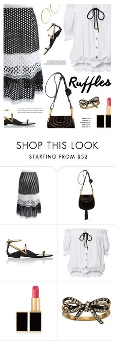 """Add Some Flair: Ruffled Tops"" by annbaker ❤ liked on Polyvore featuring Chicwish, Chloé, Lanvin, Caroline Constas, Tom Ford, Marc Jacobs, GUESS by Marciano and ruffledtops"