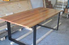 solid timber dining table on metal legs | Dining Tables | Gumtree Australia Port Phillip - Elwood | 1074558824