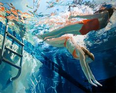 """Dive in; float, by Samantha French 48x60"""", Oil on canvas, 2011"""