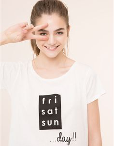 Pull&Bear - dames - nieuwigheden - t-shirt met tekst - wit - 09243361-I2015