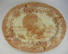 Antique Turkey Platter Brown Transferware English Transferware Huge Thanksgiving  Platter Tom Turkey  Ridgway  Staffordshire Beehive Stamp ~so beautiful~
