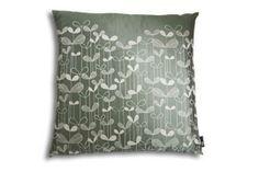Saplings Cushion; Slate with White Square