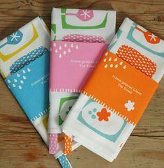 bright simple tea towels- screen printed