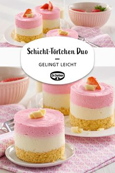 Schicht-Törtchen Duo – Schicht-Törtchen Duo: Biskuittörtchen mit zweifarbiger Tortencreme – More from my siteRecipe: Buttermilk Blueberry Lemon Breakfast Recipes to Make the Night BeforeEasy Healthy Pancake Recipe with Oats and Banana Easy Cheesecake Recipes, Cake Mix Recipes, Easy Cookie Recipes, Healthy Dessert Recipes, Vegan Desserts, Easy Recipes, Illustration Dessert, Desserts Sains, Easy Vanilla Cake Recipe
