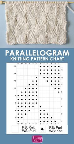 The Parallelogram Stitch Pattern creates a modern texture of interconnecting diagonal angles. - Knitting Chart Patterns - The Parallelogram Stitch Pattern creates a modern texture of interconnecting diagonal angles.