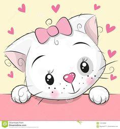 e2578dce90 Cute Cartoon Kitten With Hearts Stock Vector - Illustration of card