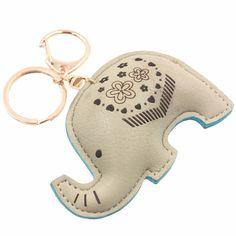 Tufted faux leather elephant bag/key length x width. Grey Elephant, Elephant Art, Elephant Keychain, Toy Craft, Felt Art, Felt Animals, Doll Toys, Dinosaur Stuffed Animal, Arts And Crafts