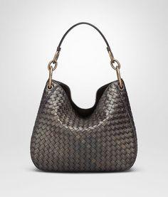 8d47900e30a09 BOTTEGA VENETA DARK BRONZE INTRECCIATO NAPPA SMALL LOOP BAG Shoulder or  hobo bag D fp Comfy