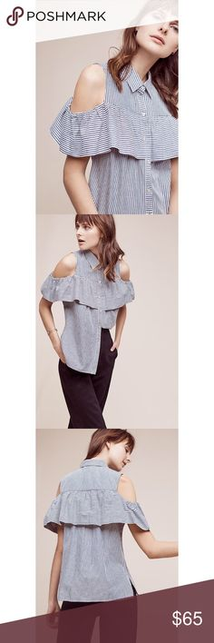 """{Anthropologie} Cold Shoulder Striped Top Open shoulder detail with ruffle.  Button front. Brand: Sunday in Brooklyn Dimensions; Approx 25.25""""L Anthropologie Tops"""