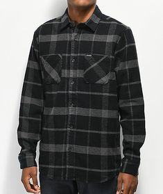 Complete your cool weather look with the Shader Black & Grey Flannel Shirt from Volcom. This mid-weight flannel features a black and grey plaid pattern throughout for a classic lumberjack-inspired look. A button up placket, foldover collar, and straight b Grey Flannel, Flannel Shirt, Plaid Pattern, Cute Guys, Black And Grey, Men Casual, Flannels, Mens Fashion, My Style