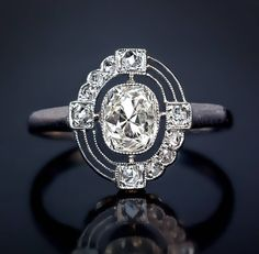RP: Russian Art Deco Diamond Platinum Engagement Ring | 1stdibs.com