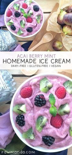 Acai Berry Mint Ice Cream - {Dairy-Free, Vegan} Crisp and refreshing mixed berry ice cream with a hint of cool mint! @Raw Manda