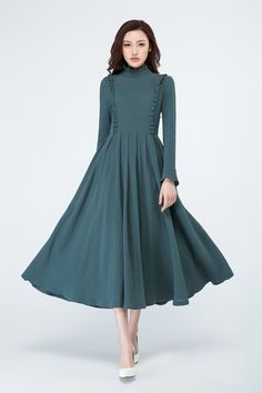DETAIL * dark green linen fabric * long sleeves * back zipper closure * no pockets * pleated on the waist * with ruffle details * length approx 126 cm * Womens dress, party dress,evening. Spring Dresses, Day Dresses, Cute Dresses, Evening Dresses, Occasion Dresses, Homecoming Dresses, Bridesmaid Dresses, Mode Hijab, Linen Dresses