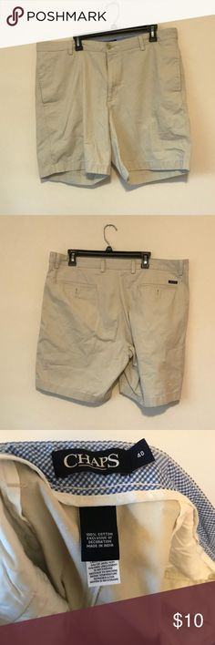 MENS DRESS KHAKI SHORTS Flat front. Very good condition. Cool dress shorts. Size 40.  From a smoke and pet free home. Chaps Shorts Flat Front