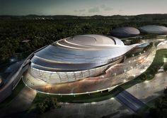 Image 5 of 18 from gallery of 2018 Pyeongchang Speedskating Arena Proposal / Idea Image Institute of Architects. Courtesy of Idea Image Institute of Architects (IIIA) Stadium Architecture, Office Building Architecture, Parametric Architecture, Architecture Visualization, Architecture Board, Organic Architecture, Concept Architecture, Futuristic Architecture, Amazing Architecture