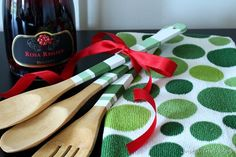 Hand Painted Wooden Utensils with Matching Dish Towels